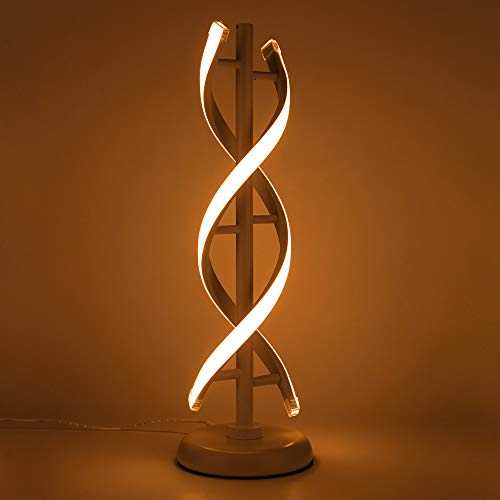 ELINKUME Double Spiral LED Table Lamp, Creative Double Helix Lampbody matchs Metal Base, 12W Warm White Eye-Caring Dimmable LED Bedside Lamp Decorative Lighting – White