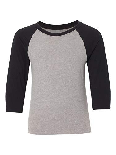 Next Level Big Boy's 3/4-Sleeve Rib-Knit T-Shirt_XS_Black/Dark Heather Gray
