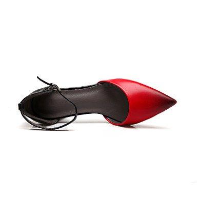 LvYuan Mujer-Tacón Robusto-Otro-Sandalias-Vestido Informal Fiesta y Noche-Semicuero-Negro Rojo Almendra Black