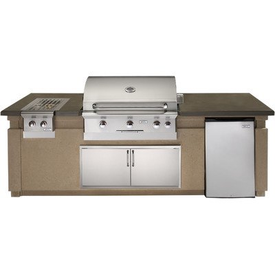 Pre-Fabricated Built-In Grill Island Enclosure with Cut-Out Refrigerator