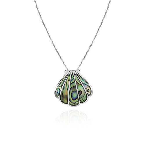 Sterling Silver Abalone Seashell Slide Pendant Necklace for sale  Delivered anywhere in USA