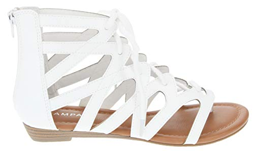 Rampage Women's Santini Cutout Lace-up Open Toe Ankle Strap Gladiator Sandal, White Textured Smooth 6.5 M -