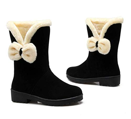 Bow Flat Plush Frosted Black Boots Female Winter Artificial Shiney Autumn Short Suede Women's Snow And XwqpTvnUt
