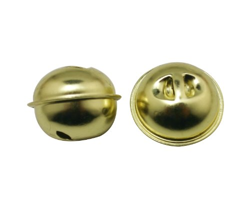 Generic Iron Golden 1.1 Inches Cow Goat Sheep Dog Bell Or Horse Sleigh Bell Bells Petal Style Rounded Slit Ends(Pack Of 15)