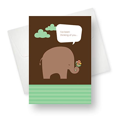 (175 Pack) Elephant Flowers Friendship Greeting Card - Premium Quality with Unique Designs - for Boys, Girls and for All Occasions - 5.5