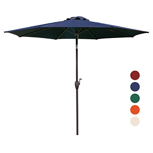 KINGYES 9Ft Patio Table Umbrella Outdoor Umbrella with Push Button Tilt and Crank for Commercial Event Market, Garden, Deck,Backyard Swimming and Pool (Navy) (Commercial Picnic Tables Used)