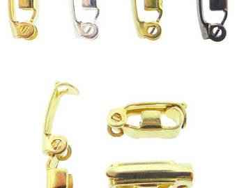 Fold Over Jewelry Clasps 100 Piece Assortment in Gold Overlay, Silver Overlay, + (Jewelry Clasp Silver Overlay)