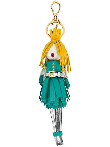 (Prada Trick in Pelle Alice Doll Yellow Hair Agata Teal Silver Leather Key Chain Charm 1TL172)