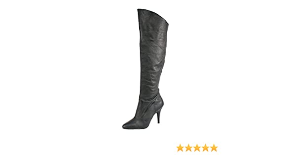 9c5400aa8e0 Summitfashions Womens Black Leather Boots 4 Inch Heels Sexy Knee High Boots  Cuffed Knee Shoes