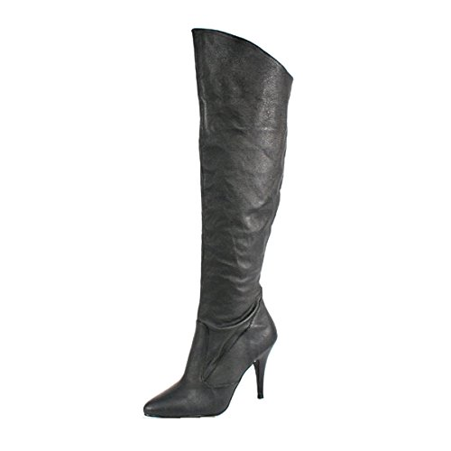 Summitfashions Womens Black Leather Boots 4 Inch Heels Sexy Knee High Boots Cuffed Knee Shoes Size: 14 -