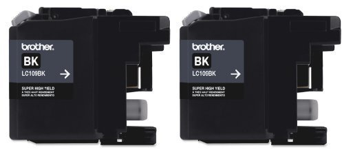 Genuine Brother LC109BK Ultra High Yield Black Ink 2-Pack