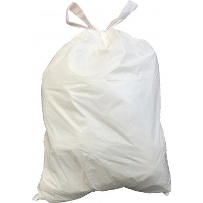 Plasticplace 6 Gallon Chalk-white Drawstring Bags, 17x20, 0.7 Mil, 200/Case