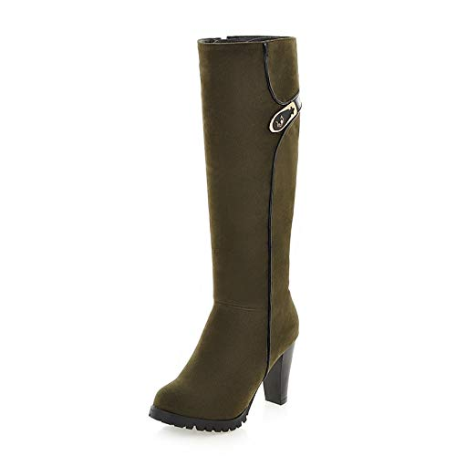 HAOLIEQUAN Größe 34-43 Frauen Stiefel Winter Warme Kniehohe Stiefel Stiefel Stiefel Außerhalb Mode Metall Dekoration Flock Runde Kappe Reißverschluss Schuhe Frauen ab719a
