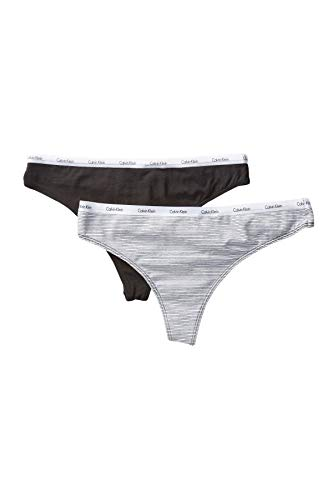 Calvin Klein Women`s Autograph Cotton Thong, Pack of 2 (Black(QP1184-953)/Stripe Grey, Large)