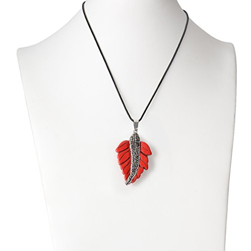 ART KIM Agate Howlite Pave Crystal Handmade Craft Gem Maple Leaf Pendant Necklace (Red)