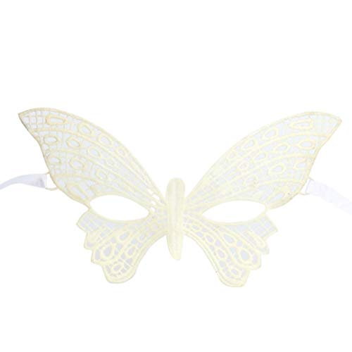 Respctful Halloween Masqueradem, Lace Costume Party Ball Prom Butterfly Mask (White) -