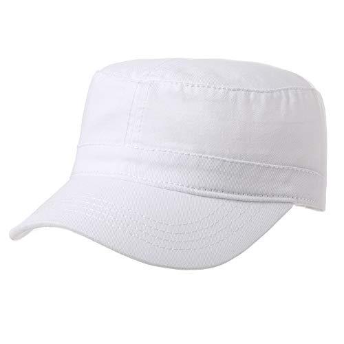 Men Large Head Womens Classic Army Military Radar Hat Canvas Cotton Top Baseball Cap Adjustable White 56-60cm