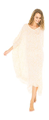 Back From Bali Womens Loose Maxi Beach Dress Cover up Long Poncho Bun Coral