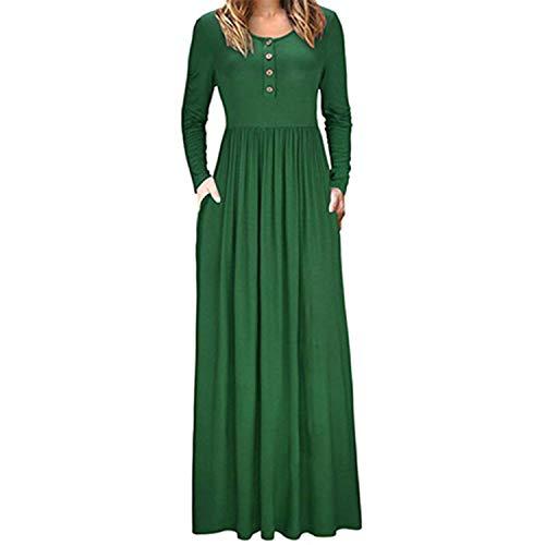 Kaured Stylish Long Maxi Dress Femme Wine Red Dress Wrinkle Outwear Green XXL ()