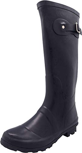 NORTY - Womens Hurricane Wellie Solid Matte Hi-Calf Rain Boot, Navy 40710-8B(M) US by NORTY