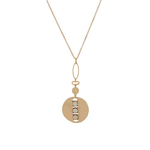 MKHDD Women Long Necklaces Statement Golden Disk Circle Necklaces Jewelry Pendant Sweater Chain Simple Style Prime Casual Costume Accessories