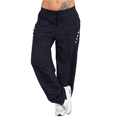 (Womens Wide Leg Pants Yoga Sports Loose Casual Lace Up Long Pants Solid Color Trousers Workout Gym Leggings Navy )