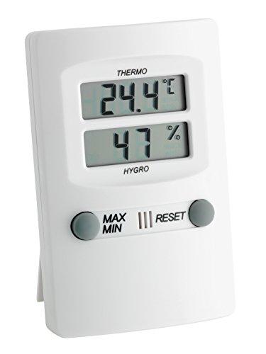 TFA Dostmann Digitale thermohygrometer binnentemperatuur en luchtvochtigheid maximum en laagste waarden voor een gezond binnenklimaat