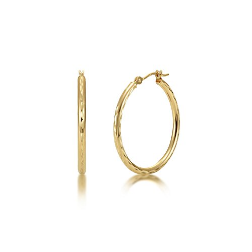 Full Diamond Cut 14k Yellow Gold 2mm x 25mm Click Top Tube Hoop Earrings - By Kezef Creations