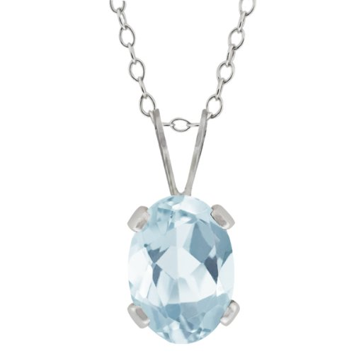 0.72 Ct Oval Shape Sky Blue Aquamarine Sterling Silver Pendant Necklace, 18""