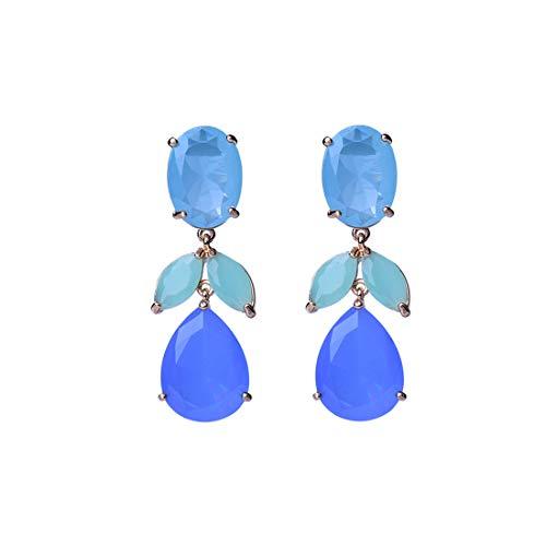 - Post Earrings for Women Gold Plated Multicolor Crystal Dangling Earrings Pierced Rhinestone Teardrop Chandelier Earrings with Stud Women's Wedding Jewelry Valentine's Gift