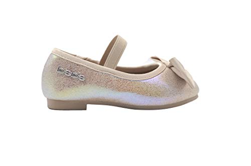 bebe Toddler Girls Ballet Flats 5 M US Toddler Iridescent Mary Jane Ballerina Shoes with Bow Gold -