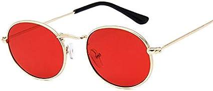 Sunglasses Gafas De Sol Retro De Montura Pequeña para Mujer, Gafas De Sol De Metal con Espejo Ovalado, Diseñador De Marca Vintage para Mujer, Rojo Dorado