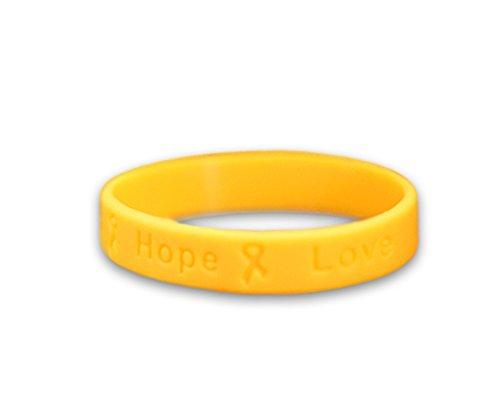 Pediatric Silicone - Childhood Cancer Awareness Gold Silicone Bracelet - Adult Size - (1 Bracelet - Retail)