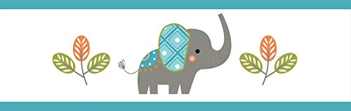 Sweet JoJo Designs Mod Elephant Baby Childrens and Kids Wall Paper (Baby Nursery Wallpaper Border)