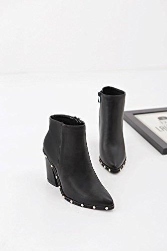 Confort 35 rivet bottes Bureau Carrière Robe Talons automne Casual mxx LvYuan Pointe femme amp; Martin Bottes BLACK orteil hauts hiver RzvAU0