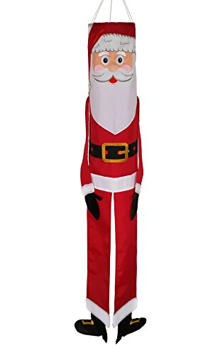 In the Breeze Santa Claus 60 Inch Windsock - Hanging Christmas Decoration - Outdoor Holiday -