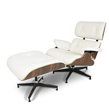 Mid-Century Classic Design Walnut Lounge Chair & Ottoman Set in Top Grain Italian White Leather