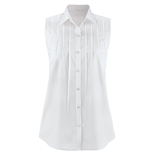 Collections Etc Women's Pintuck Button Down Sleeveless Shirt, White, Large (Pleated Top Collection Front)
