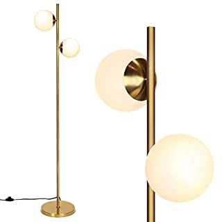 Tangkula 65-Inch Sphere LED Floor Lamp with 2 LED Bulbs, Frosted Glass Globe Lamp with Foot Switch, Modern Tall Pole Rustic Standing Lamp for Living Room Bedroom (Antique Brass)