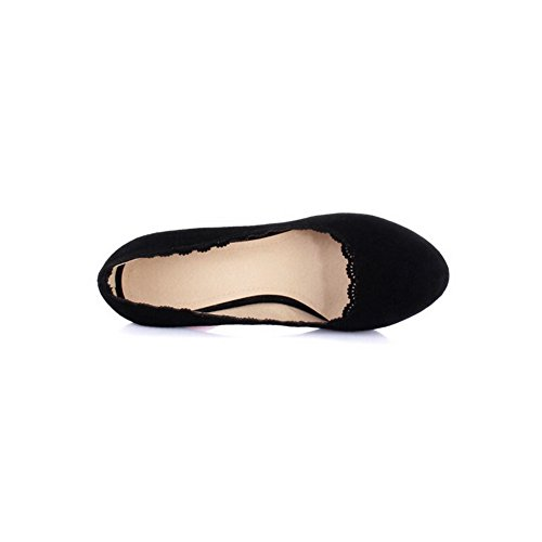Toe Pull Sheepskin Black Shoes AmoonyFashion Closed Womens On High Solid Pumps Round Heels n8Ewq67Ow0