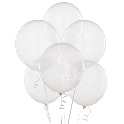 12 Inch Latex Balloons Crystal - Clear 12 Inch Thickened Latex Balloons, Pack of 100, Premium Helium Quality for Wedding Bridal Baby Shower Birthday Party Decorations Supplies Ballon Baloon Thinken
