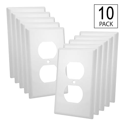Duplex Plate Gang Wall Single - 10 Pack - Single-Gang Duplex Receptacle Plastic Wall Plate - UL Listed, White