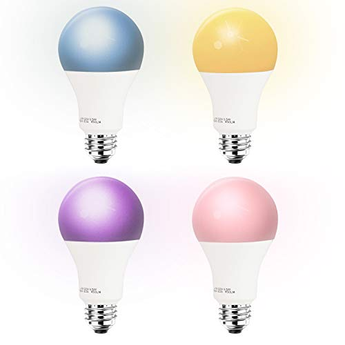 Smart LED Light Bulb A19 by 3Stone, E27 WiFi App Controlled UL Listed, Dimmable Warm White and RGB Colors 60W Equivalent, Works Perfect with Amazon Alexa Google Assistant IFTTT (4 Pack)