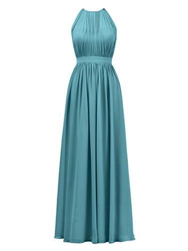 Gown Chiffon Maxi Formal Illusion Prom Evening Dress Turquoise Bridesmaid Halter Alicepub qz8wX4In