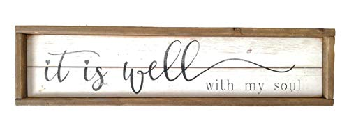 (Parisloft It is Well with My Soul White Background Wood Framed Wood Wall Decor Sign Plaque 23.6 x 1.2 x 6 inches (it is Well with My Soul))