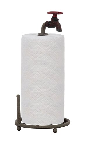 Rustic Paper Towel Holder - Creative Co-op DA0075 Metal Faucet Design Paper Towel Holder, 15-Inch