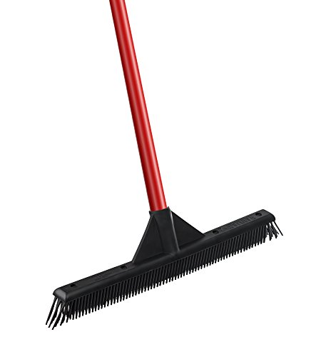 RAVMAG Rubber Broom Lightweight- Slanted Soft Bristles- Picks up Dust & Hair- Perfect for Cleaning Hardwood, Vinyl Carpet Cement Tile Windows- Scratch Free!