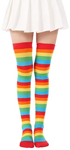 Over Knee Long Striped Stockings Saint Patrick's Day Socks Costume Thigh High Tights(01 Rainbow Tights)