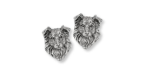 Border Collie Jewelry Sterling Silver Border Collie Earrings Handmade Dog Jewelry BE1-CL