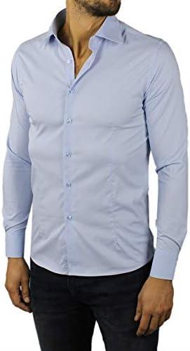 Camisa de Hombre Slim Fit Blanca Negra Azul Azul Azul de ...